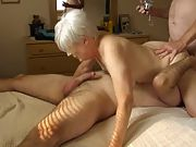 Elderly mom gets licked and fucked